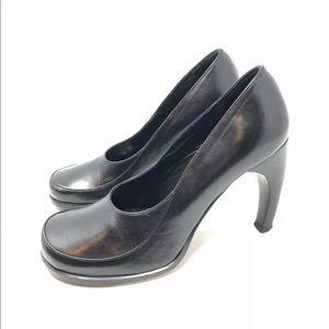 Mark Schwartz 7.5 Leather Curved Heel Pumps Italy